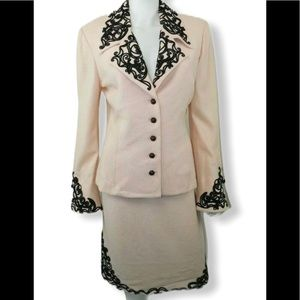 St. John Couture Light Pink/ Brown Skirt Suit